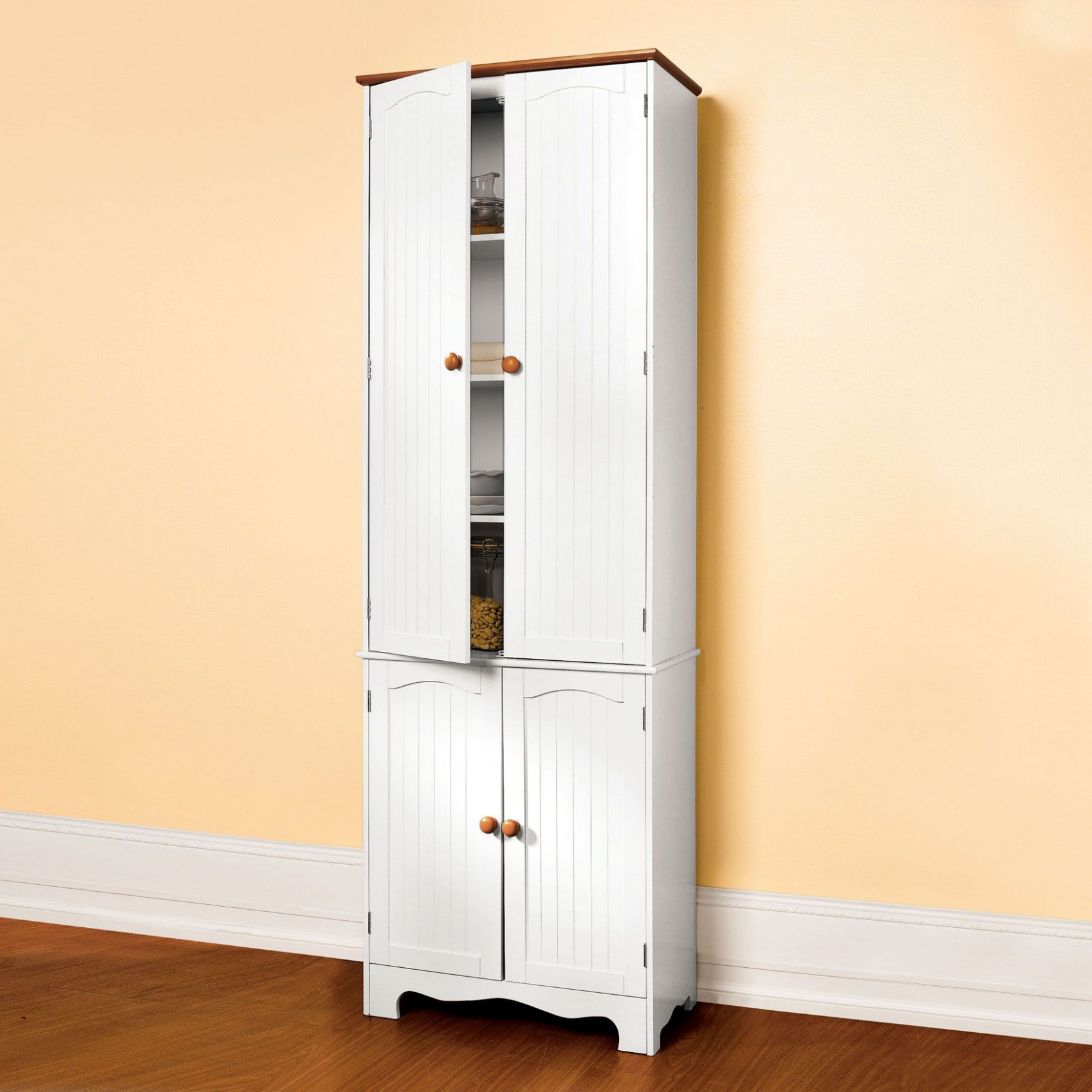 Country Kitchen Tall Two-Part Four-Door Pantry  Kitchen cabinet  - Four Door Kitchen Cabinet