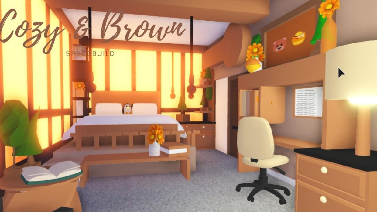 Cozy & Brown BEDROOM SPEEDBUILD ♡ Adopt Me Roblox - Bedroom Ideas In Adopt Me
