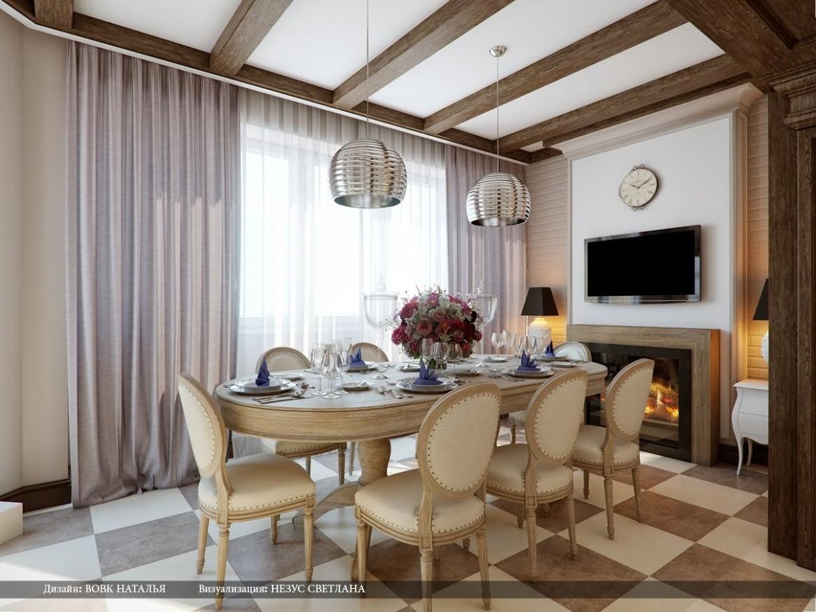 Cream brown chequered floor dining roomInterior Design Ideas