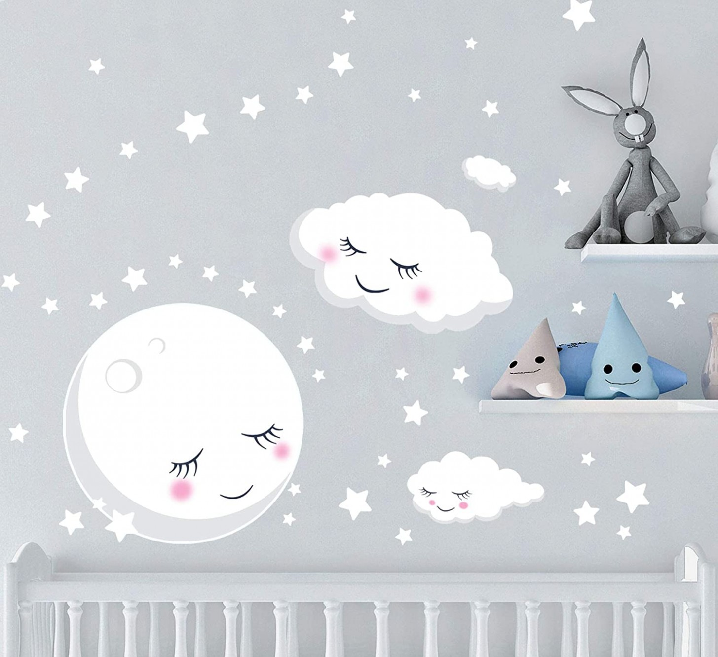 Create-A-Mural Nursery Wall Decals Baby Room Decor w/Moon Stars Clouds Wall  Stickers (9) Room Decal Pieces - Baby Room Decals
