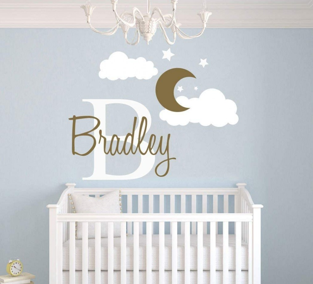 Custom Name & Initial Moon Clouds Stars - Baby Boy - Nursery Wall  - Baby Room Wall