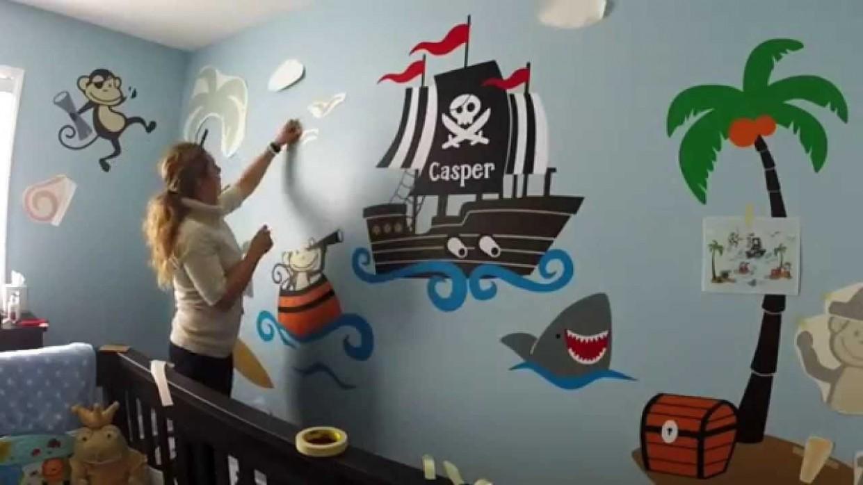 Custom nursery wall decor - Monkey Pirates at Sea - Baby room  - Wall Decor Ideas Baby Room