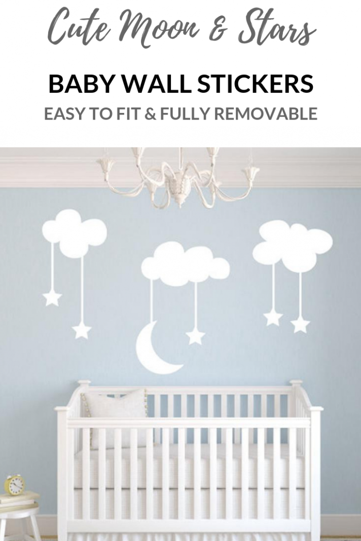 Cutest clouds with moon and stars wall art decals for a nursery  - Baby Room Vinyl Wall Art