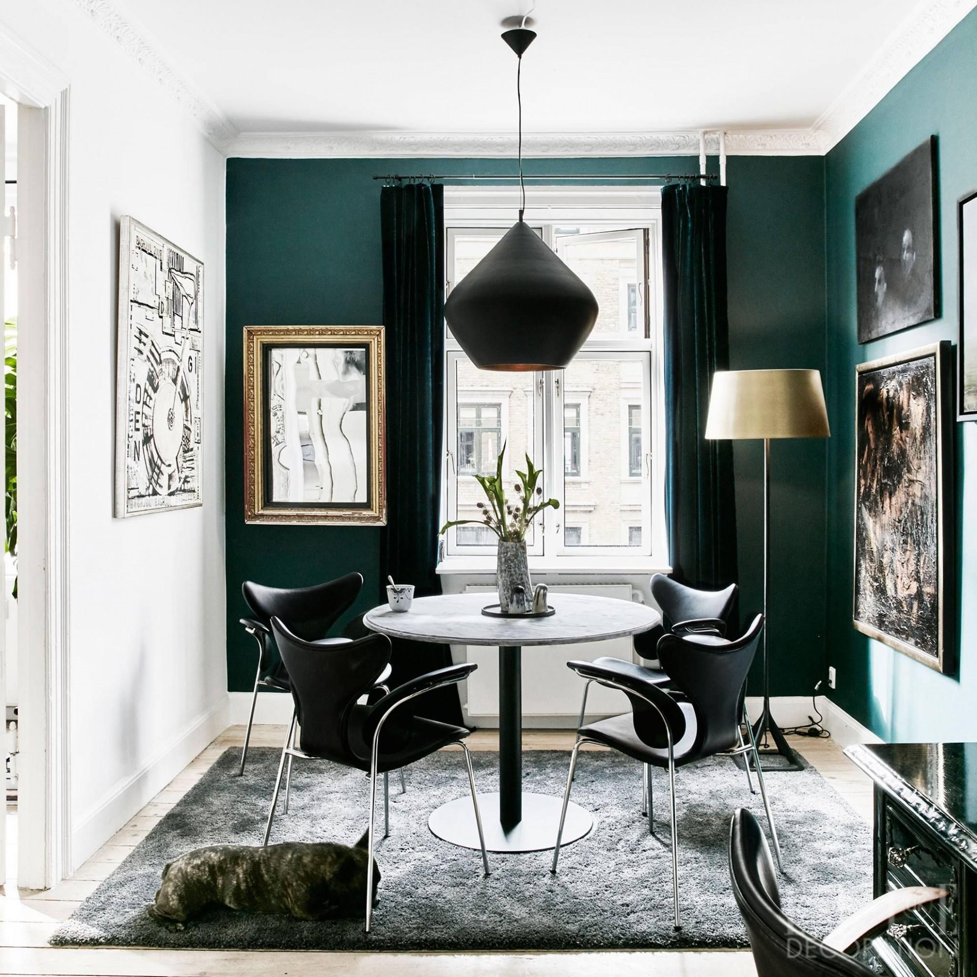 Dark green walls, Mid Century furniture, and a Tom Dixon Beat  - Dining Room Ideas Green
