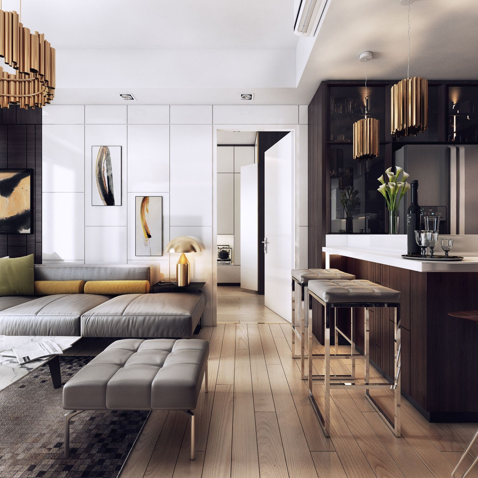 Dark-modern-apartment-with-stunning-lighting-12 Dark-modern  - Apartment House Design Ideas
