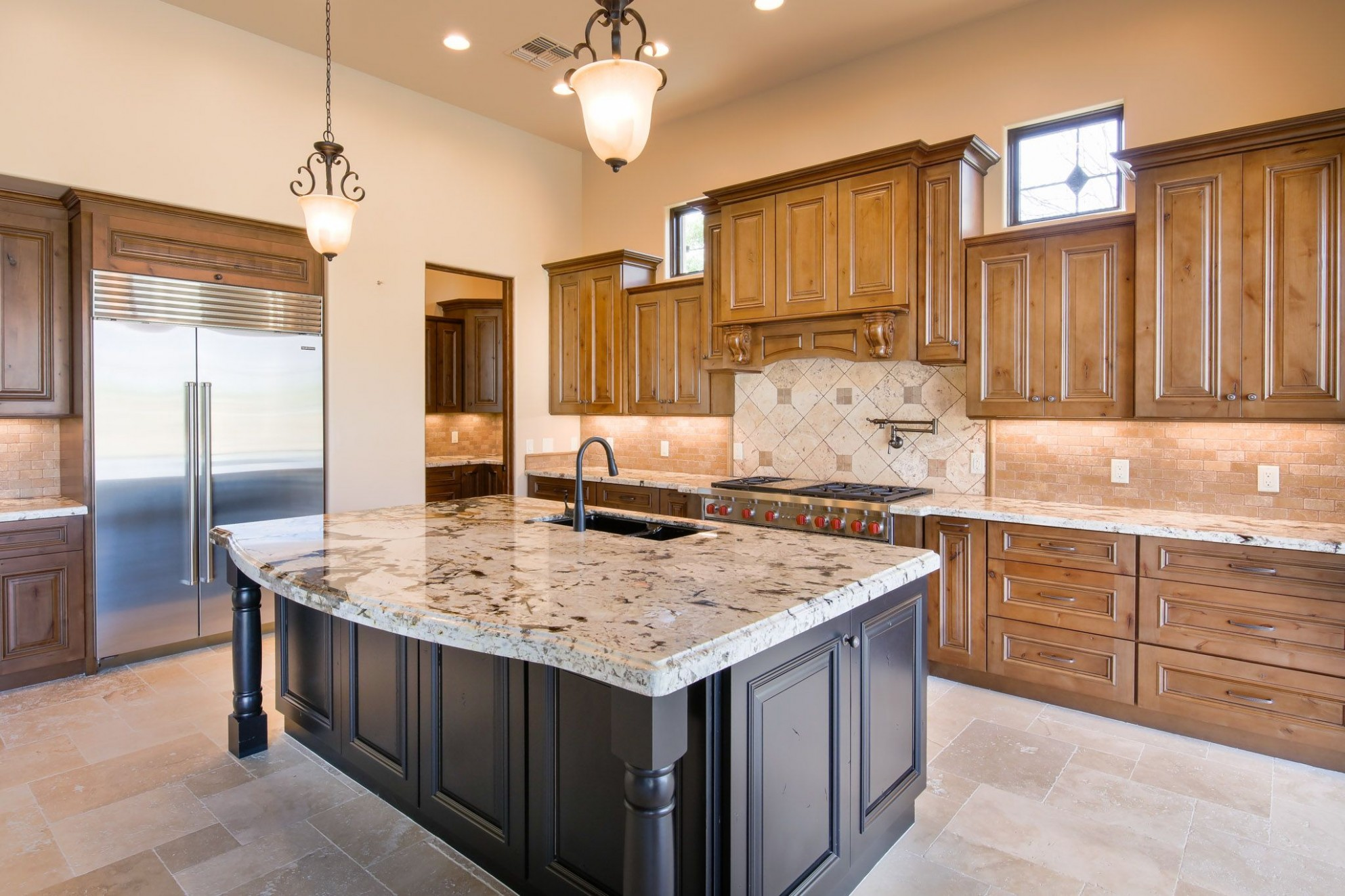 Design your kitchen with wood stained cabinets and an accent  - Kitchen Cabinet Accent Paint