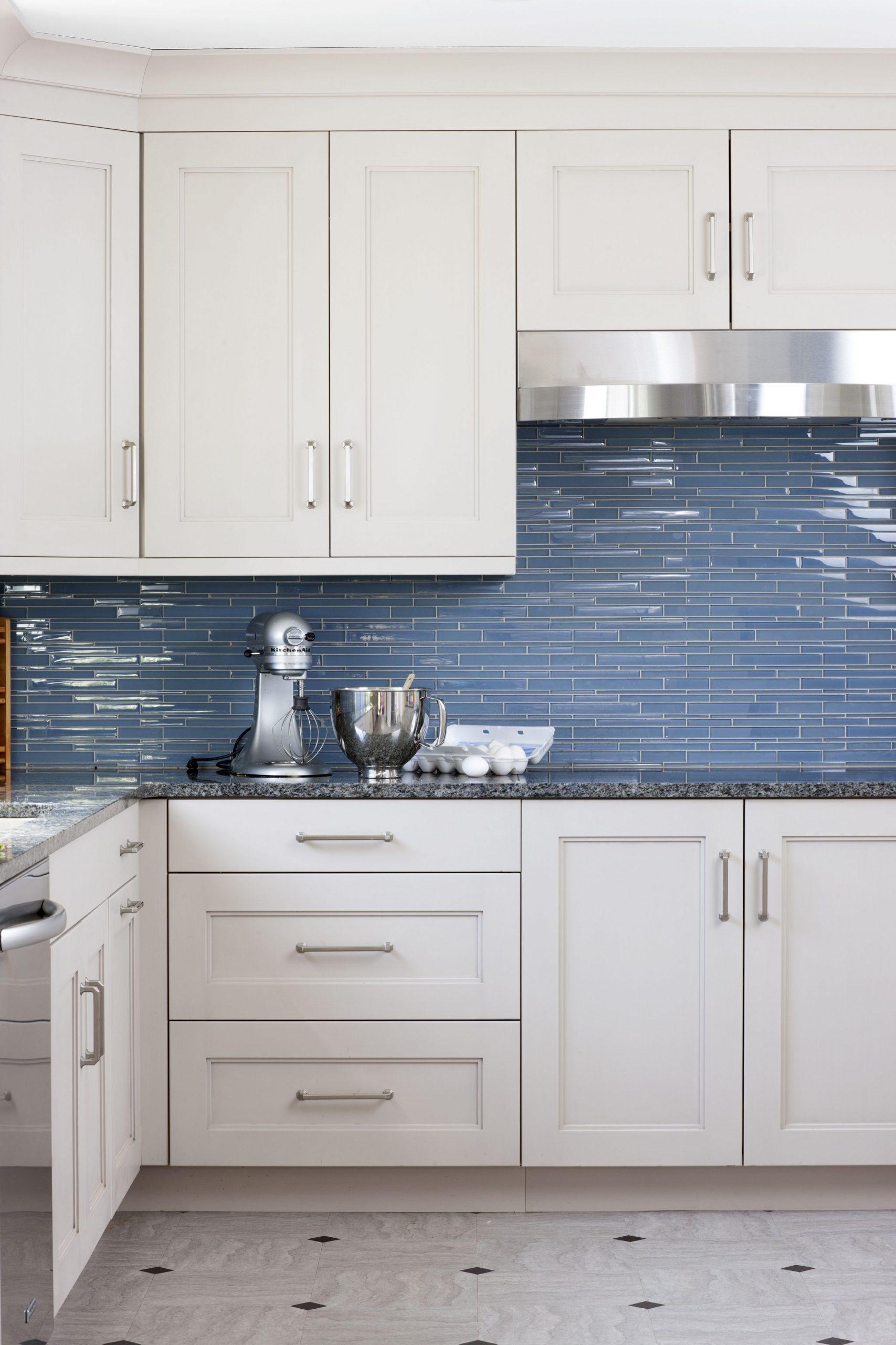 Designed by Kristin Peake Interiors  Blue backsplash kitchen  - Gray Kitchen Cabinets With Blue Backsplash