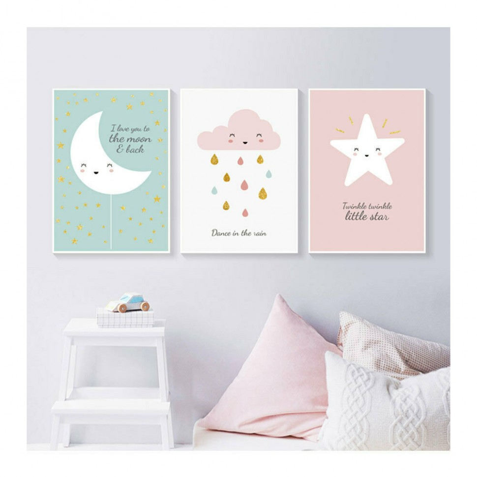 Details about Star Moon Cloud Posters Prints Baby Room Nursery Decor Wall  Art Canvas Painting - Baby Room Wall Painting