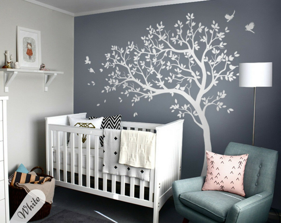 Details about White tree wall decal Stunning baby room wall decor Wall Art  mural - KW11 - Baby Room Wall Decor