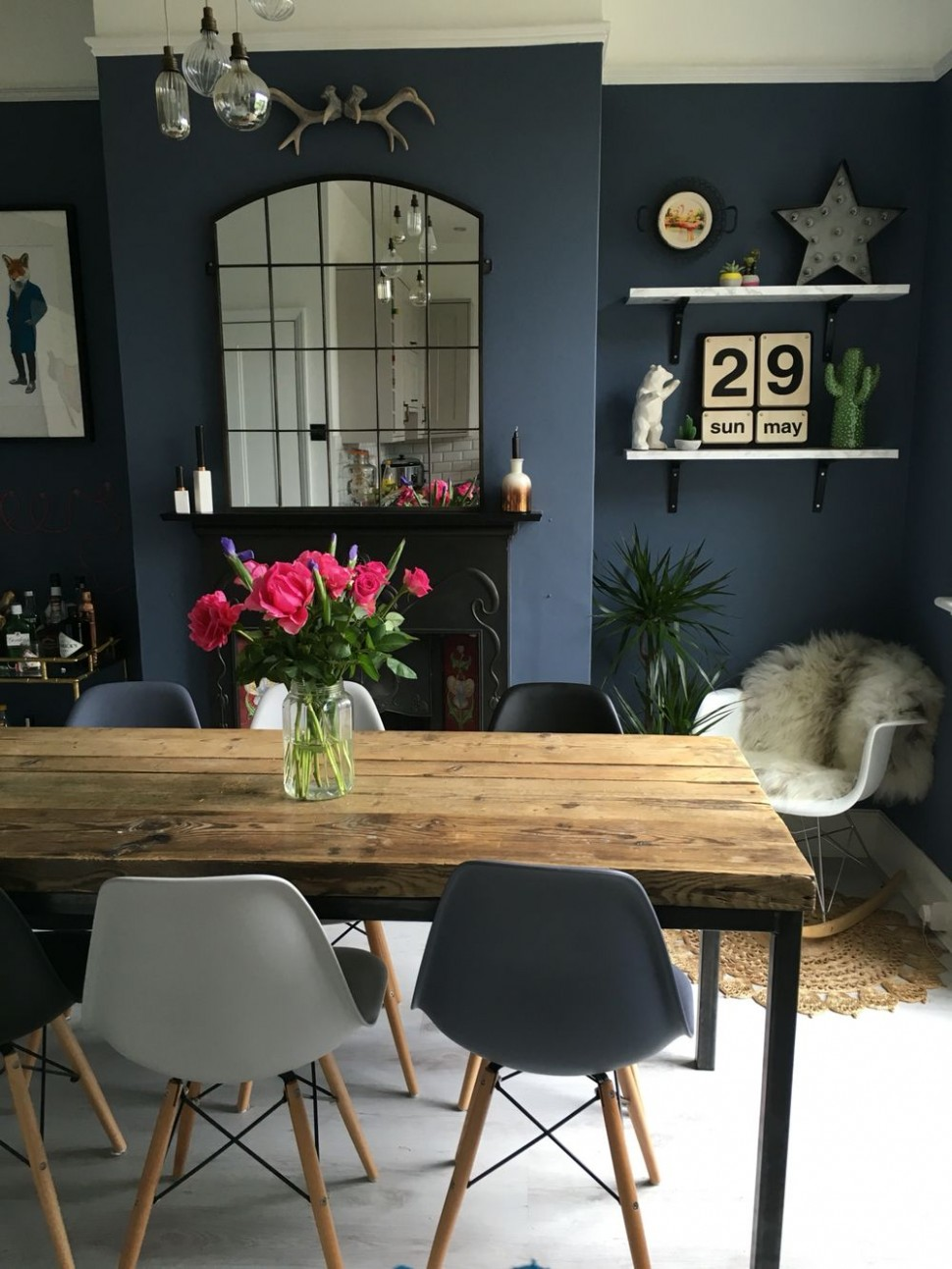 Dining Room Decor: Fall in love with this blue dining room that  - Dining Room Ideas Blue