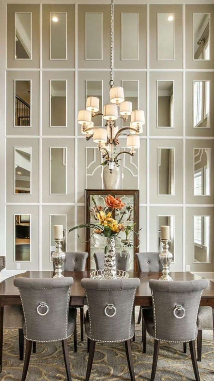 Dining Room decor ideas - Transitional style with grey and cream  - Dining Room Ideas Mirror