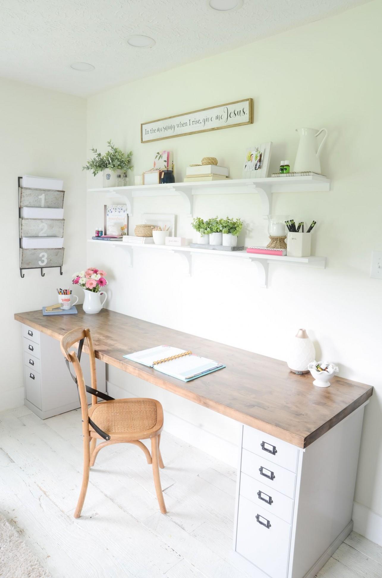 DIY Butcher Block Desk for my Home Office - Beneath My Heart  - Home Office Table Ideas