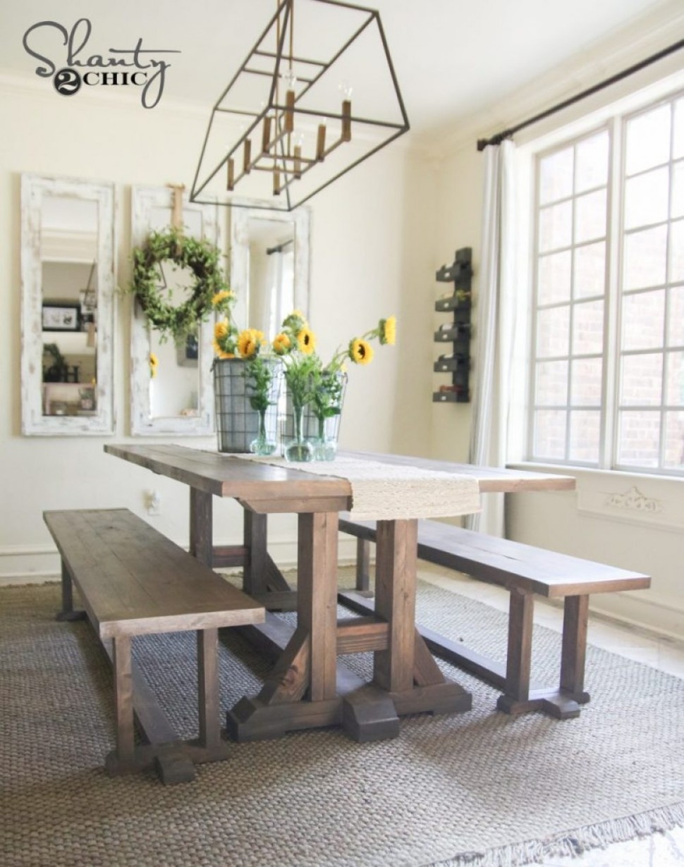 DIY Pottery Barn Inspired Dining Table for $9 - Shanty 9 Chic - Dining Room Ideas Pottery Barn