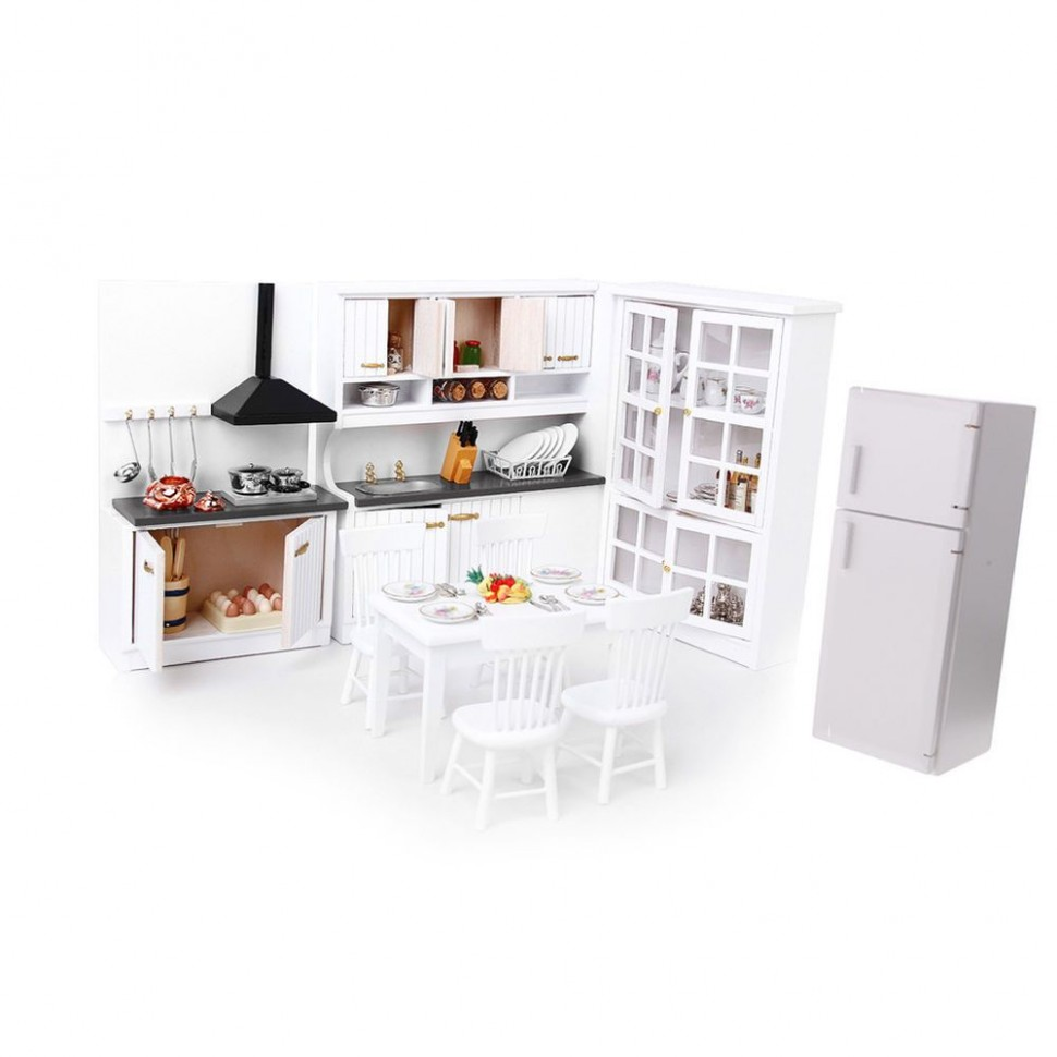 Dollhouse 9:92 Scale Kitchen/Dining Room Furniture Kit - Luxury  - Dollhouse Kitchen Cabinet Kit