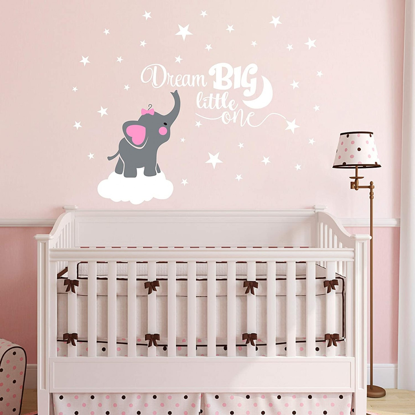 Dream Big Little One Elephant Wall Decal, Quote Wall Stickers, Baby Room  Wall Decor, Vinyl Wall Decals for Children Baby Kids Boy Girl Bedroom  Nursery  - Baby Room Decals