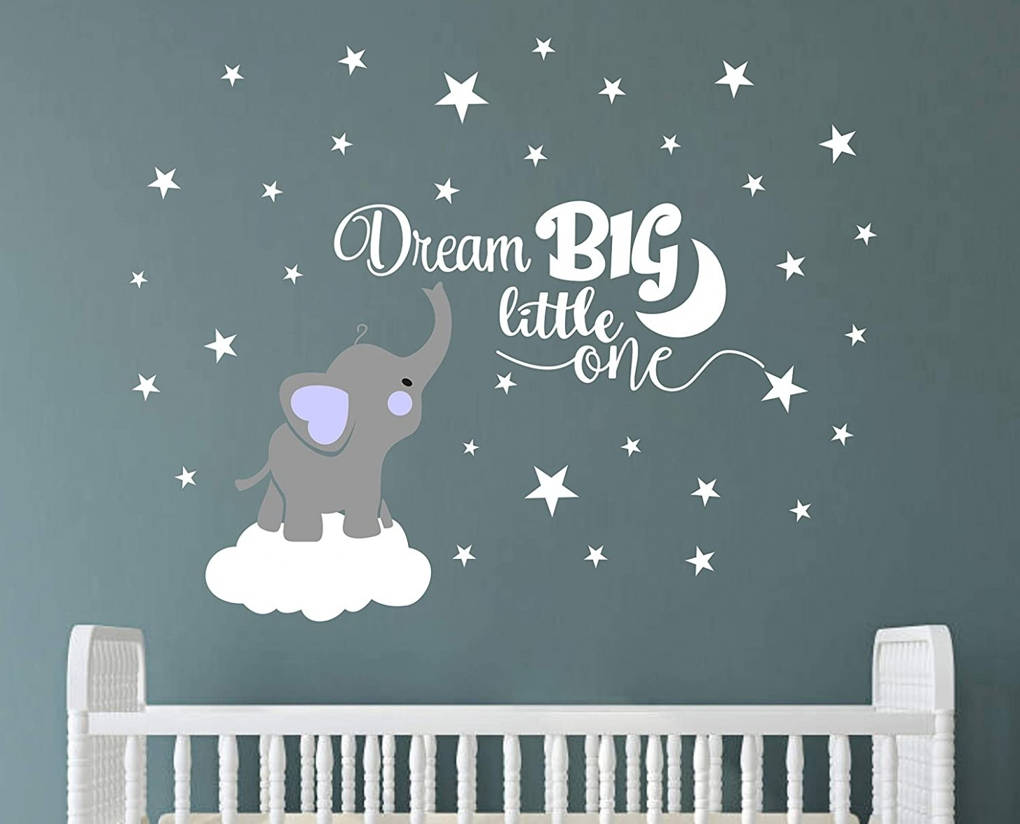 Dream Big Little One Elephant Wall Decal, Quote Wall Stickers, Baby Room  Wall Decor, Vinyl Wall Decals for Children Baby Kids Boy Girl Bedroom  Nursery  - Baby Room Wall Decals