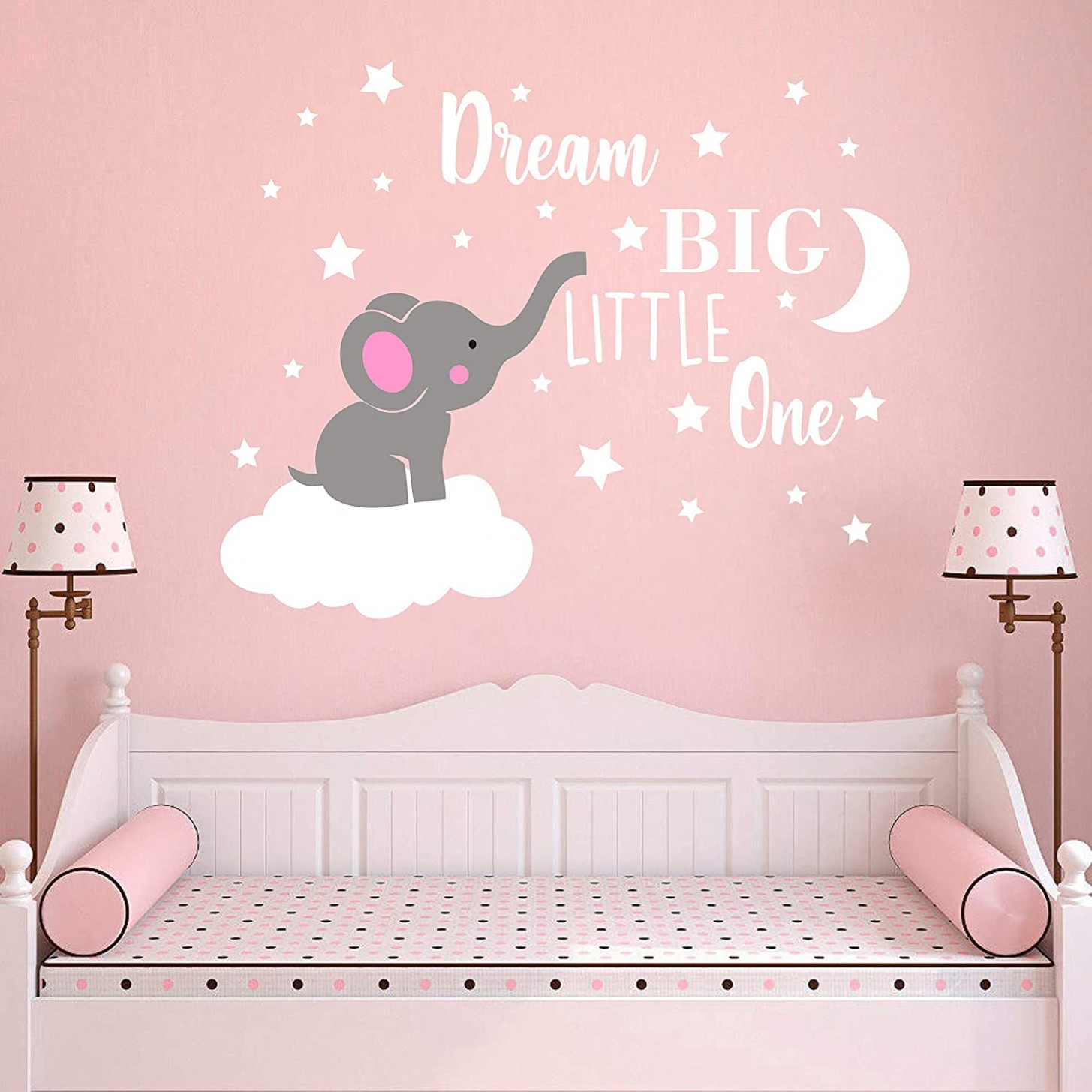 Dream Big Little One Elephant Wall Decal, Quote Wall Stickers, Baby Room  Wall Decor, Vinyl Wall Decals for Children Baby Kids Boy Girl Bedroom  Nursery  - Baby Room Wall Decor