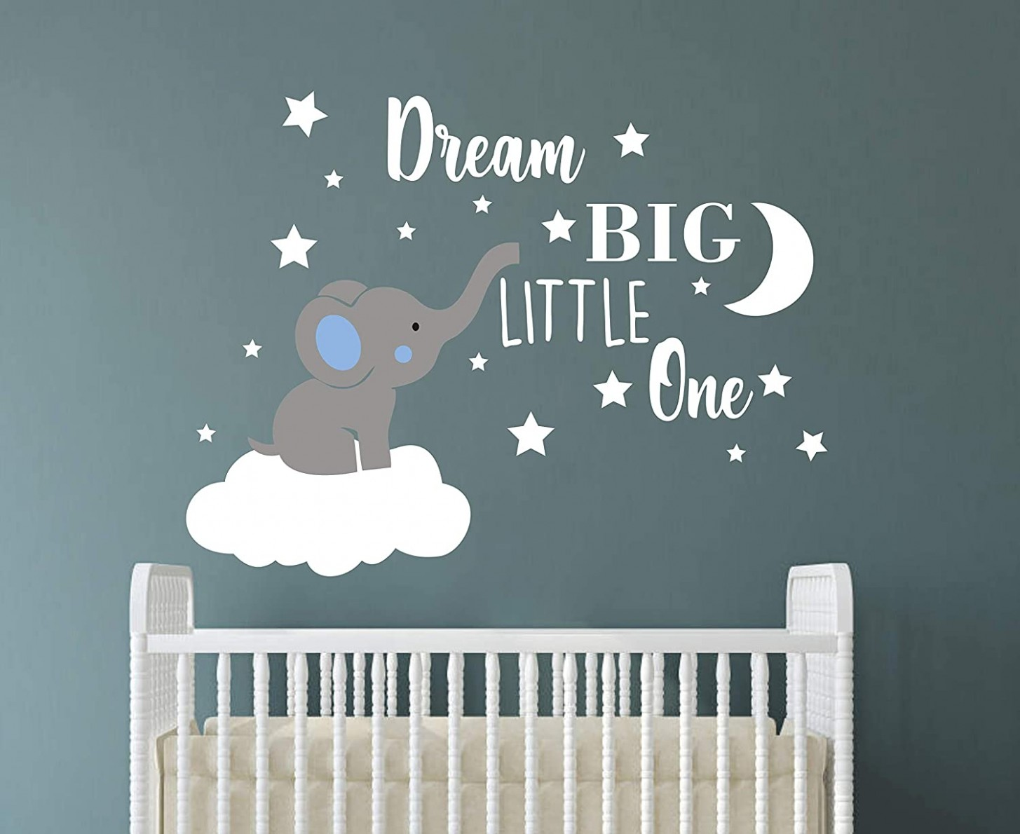 Dream Big Little One Elephant Wall Decal, Quote Wall Stickers, Baby Room  Wall Decor, Vinyl Wall Decals for Children Baby Kids Boy Girl Bedroom  Nursery  - Baby Room Wall