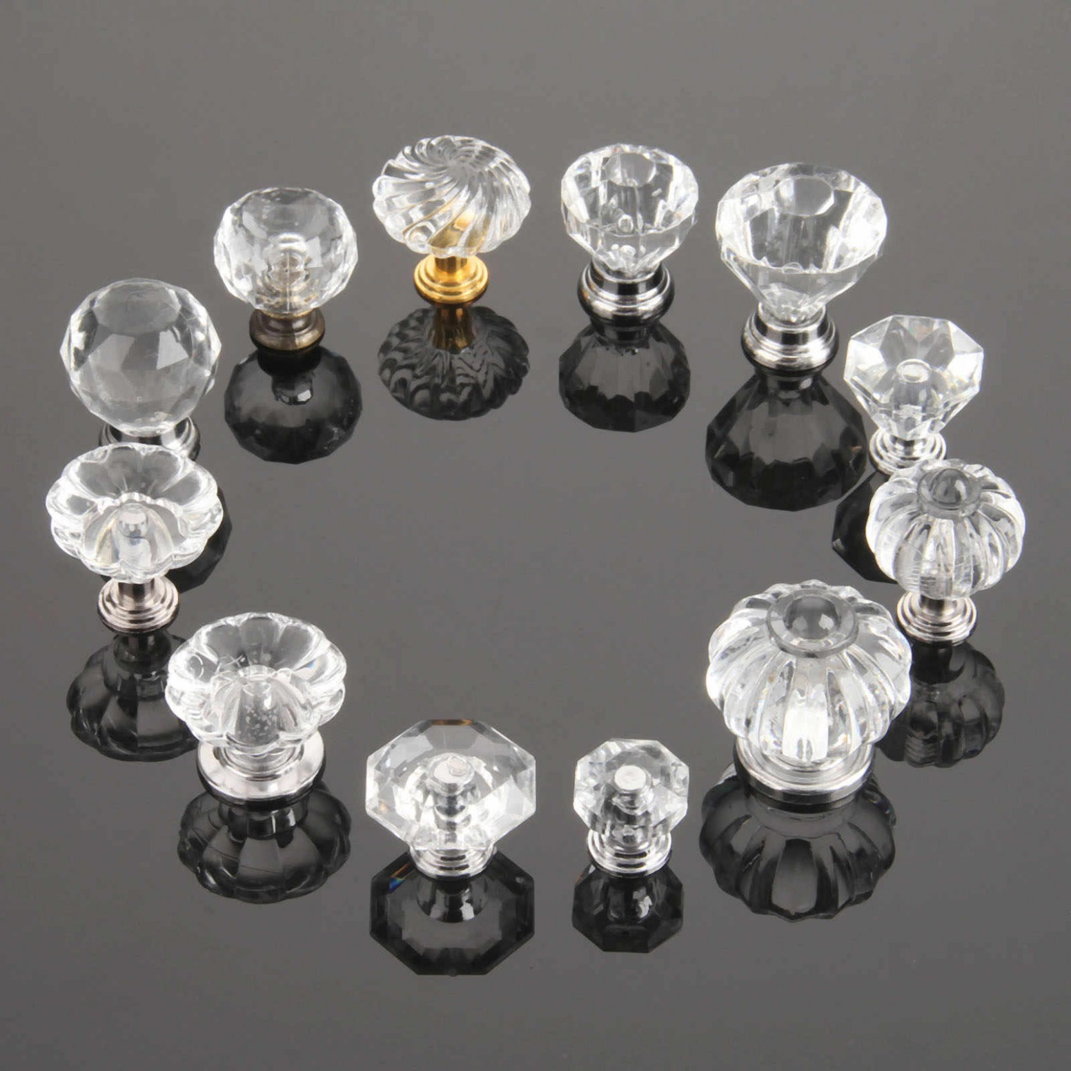 DRELD Diamond Shape Crystal Glass Knobs Furniture Handle Hardware  - Glass Kitchen Cabinet Pulls And Knobs