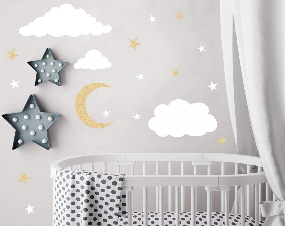 Easu Clouds Sky Wall Vinyl Wall Decals Moon and Stars Wall Decal Kids Baby  Room Decoration Good Night Nursery Wall Decor - Baby Room Vinyl Wall Art