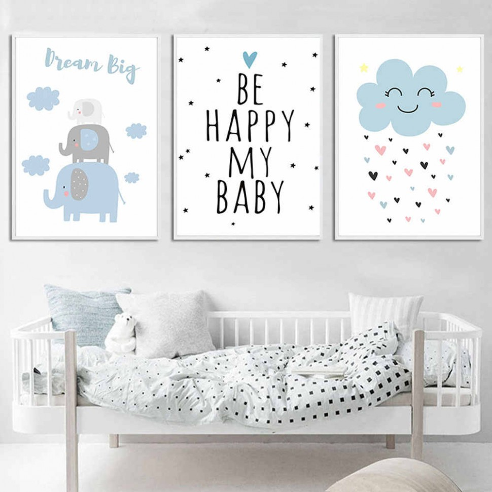 Elephant Nursery Wall Art Print Blue Cloud Quotes Canvas Poster Painting  Nordic Posters And Prints Wall Pictures Baby Room Decor - Baby Room Posters