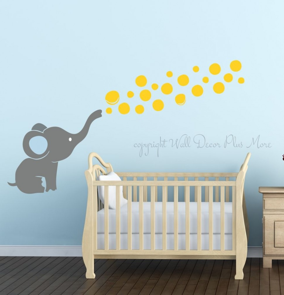 Elephant Wall Decal with Floating Bubbles, Cool Nursery Room Decor  - Baby Room Stencils