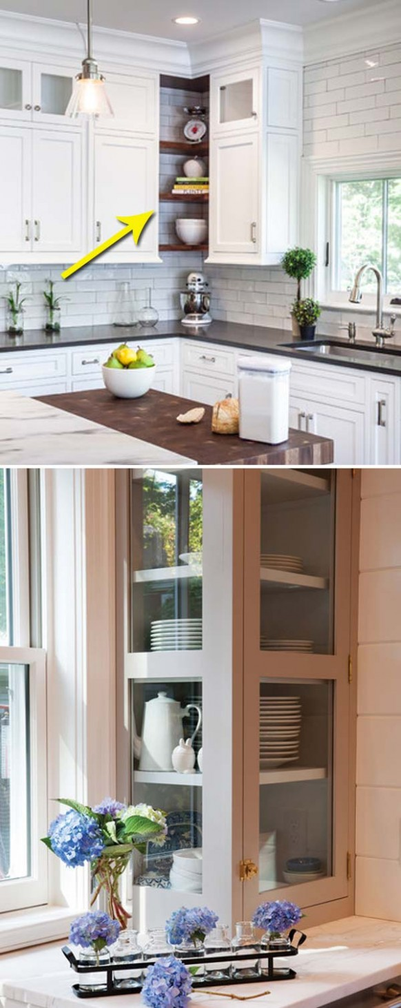 Fabulous Hacks to Utilize The Space of Corner Kitchen Cabinets  - Corner Hanging Kitchen Cabinet