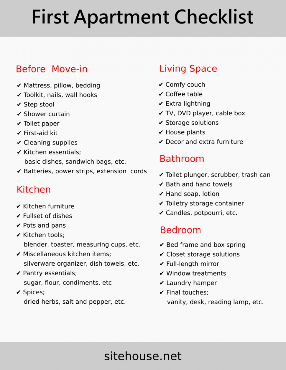 First Apartment Checklist and Design Ideas [Ultimate Guides  - Apartment Design Checklist