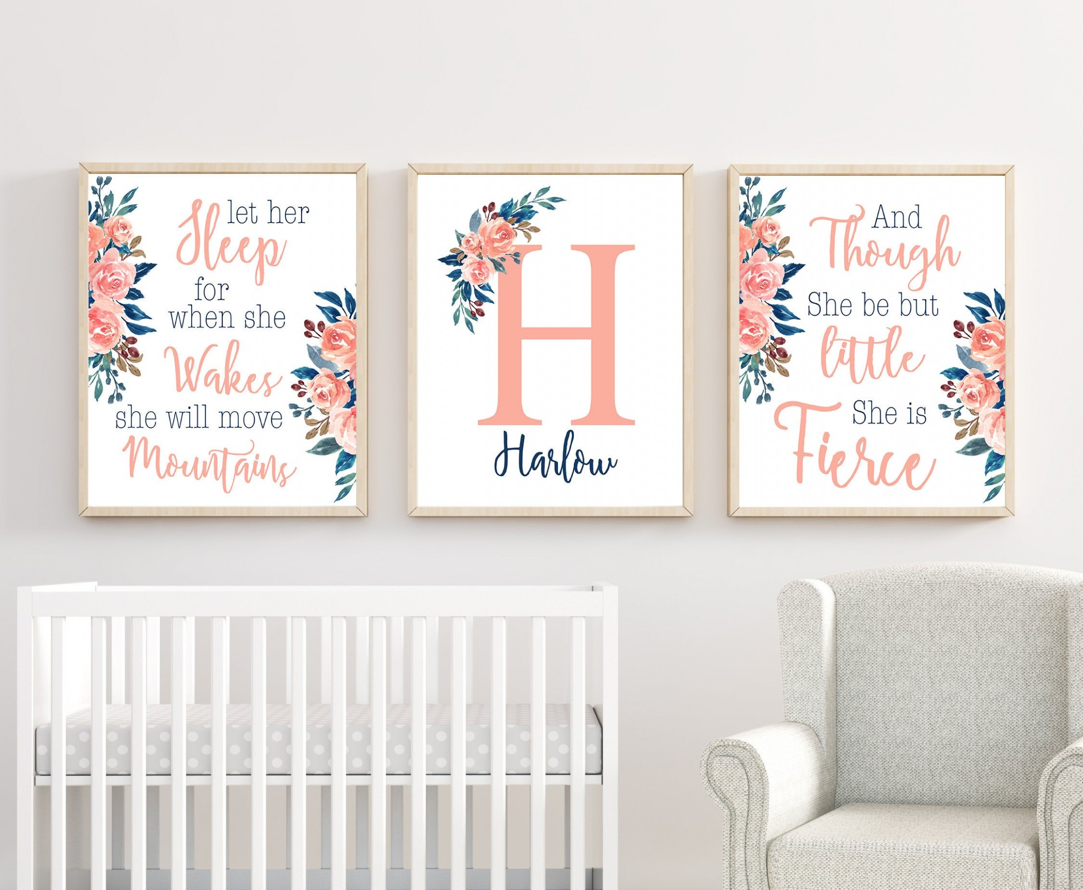 Floral Nursery Wall Art, Nursery Wall Art, Baby Room Prints, Nursery Wall  Decor, Girl Nursery Decor - Baby Room Wall Art
