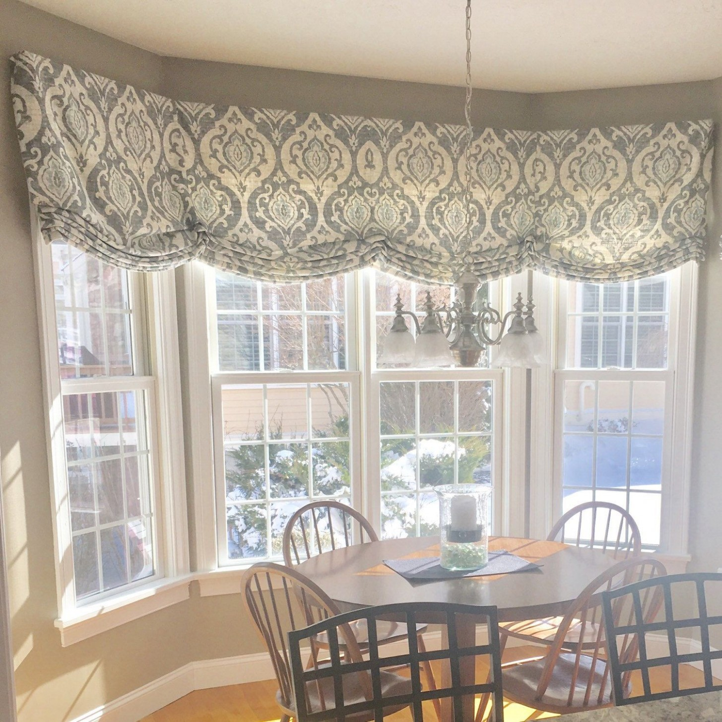FREE SHIPPING Roman Shade Stationary Valance Custom  Window  - Dining Room Window Valance Ideas