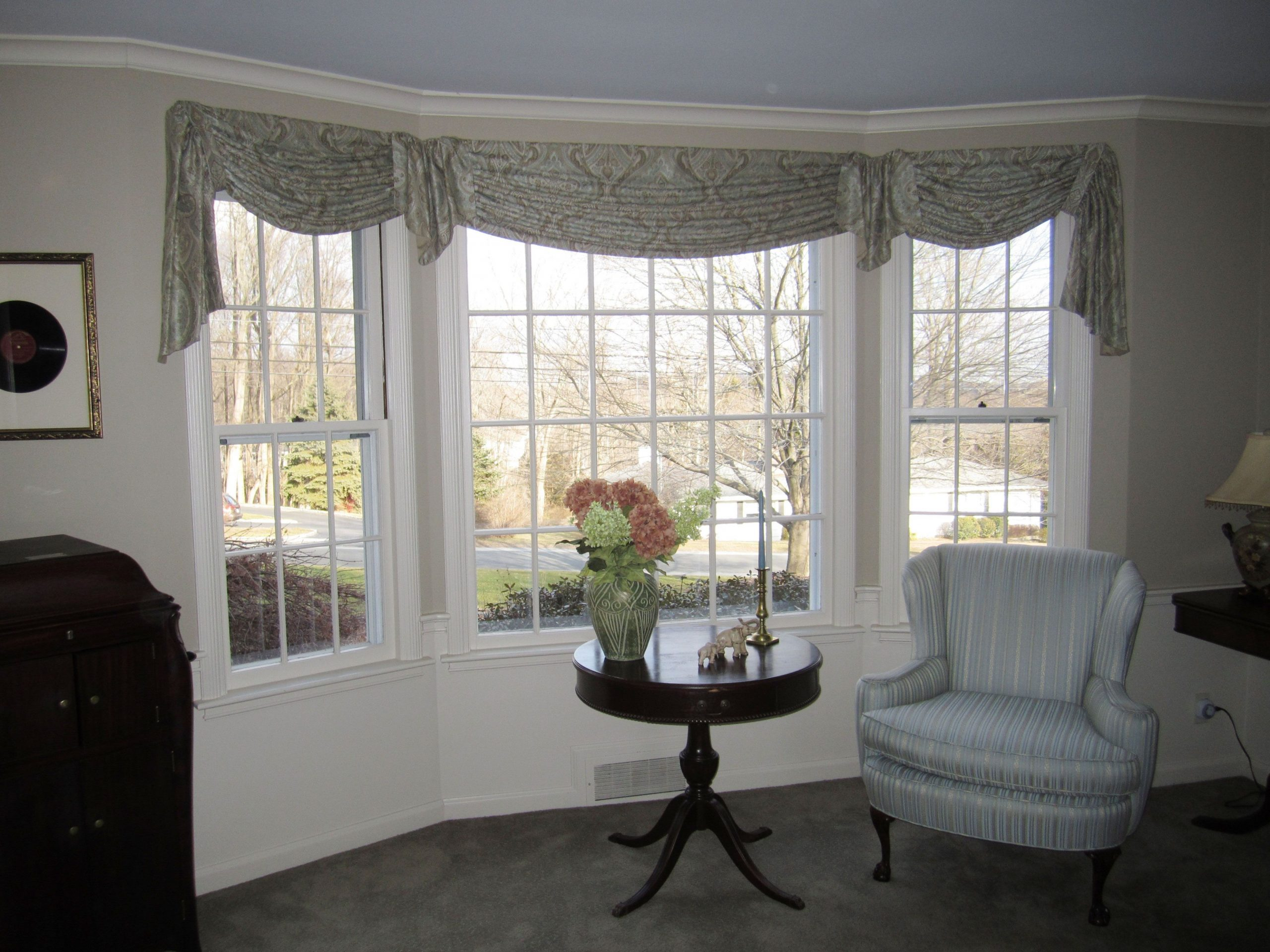 Gathered Tab Swags & Jabots for Bay Window  Bow window curtains  - Dining Room Valance Ideas