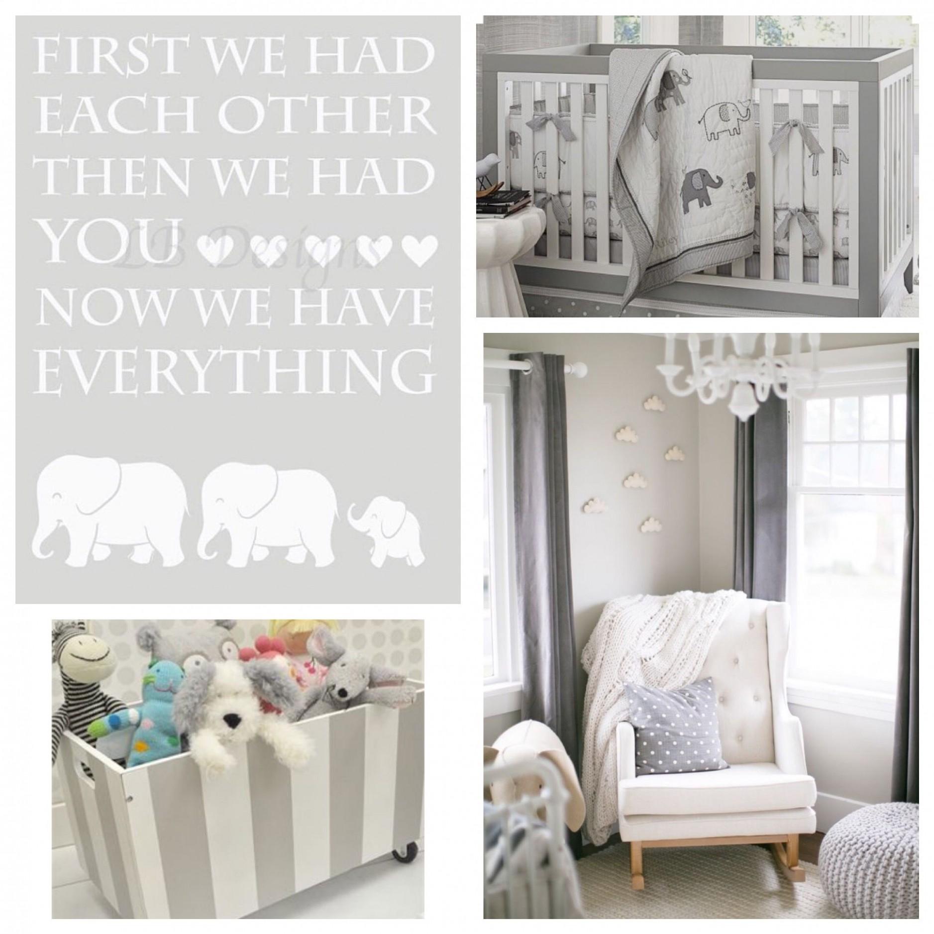 Gender Neutral Elephant Nursery Decor Gray and White Jungle  Etsy  - Baby Room Elephant