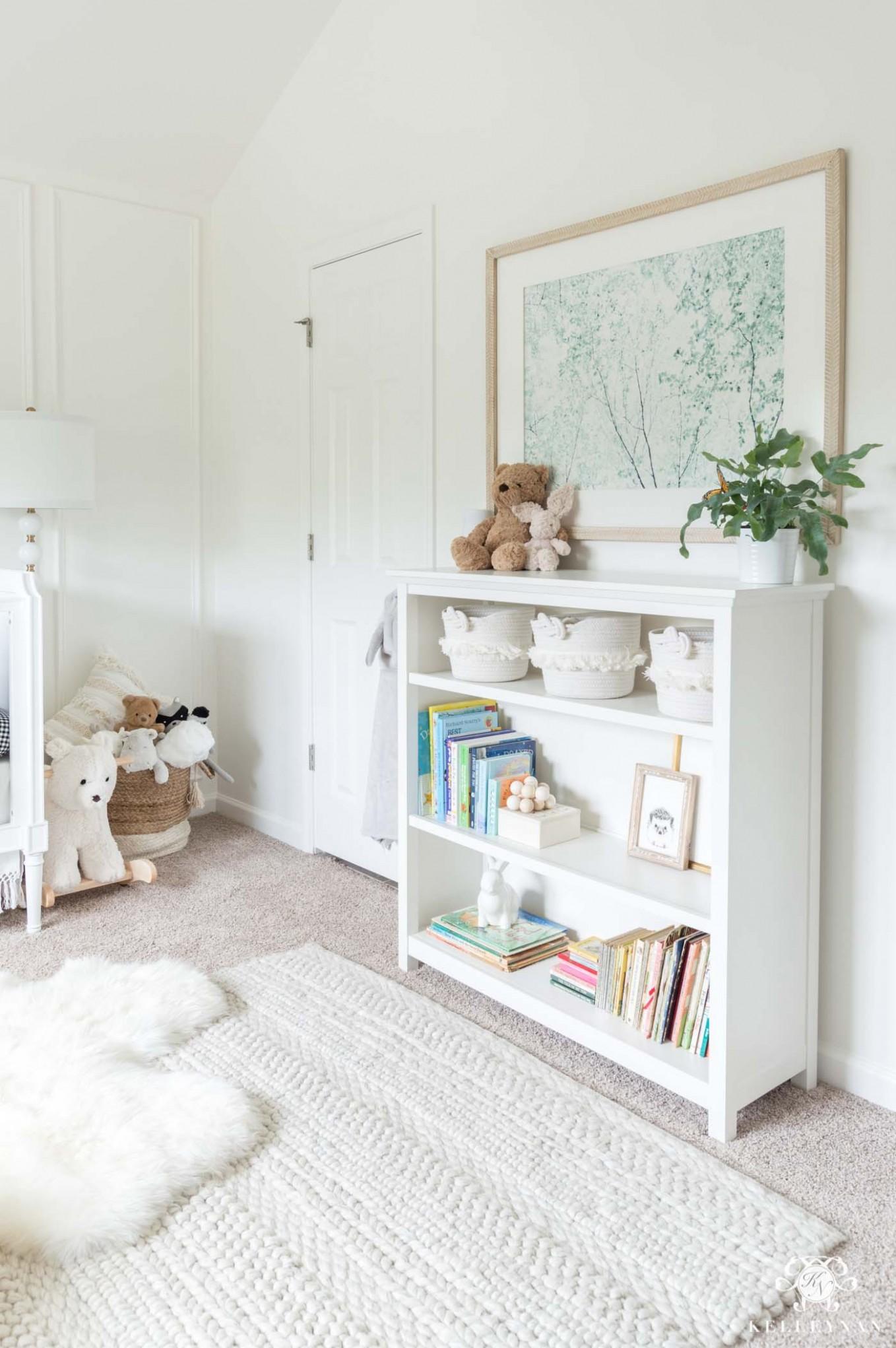 Gender Neutral Nursery Design - Pefect for Boys & Girls!  Kelley Nan - Baby Room Bookcase