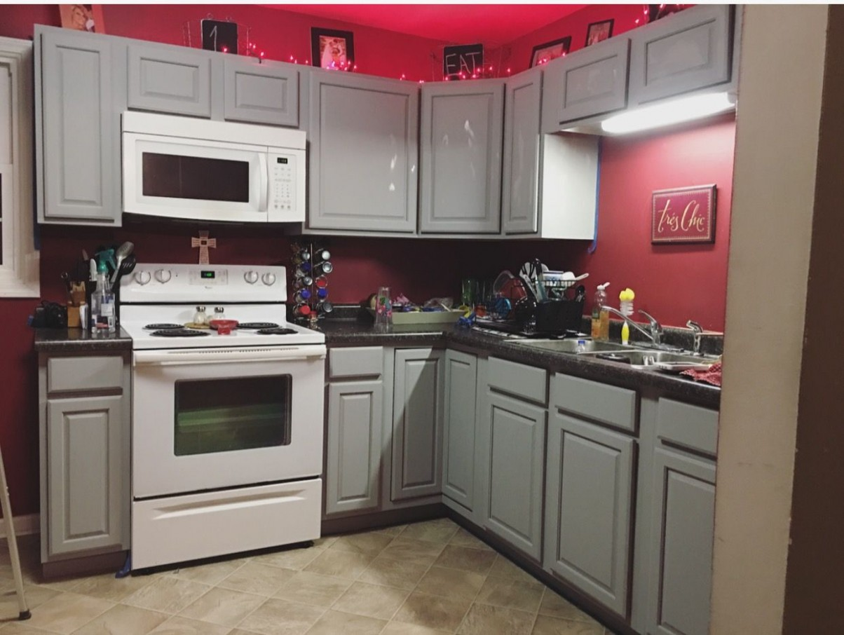 Gray kitchen cabinets with red walls  Red kitchen cabinets, Red  - Red Bank Kitchen Cabinets