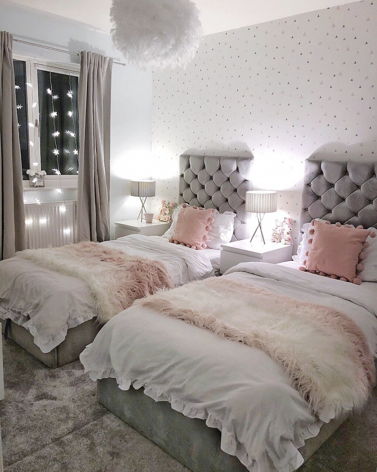 Grey and Pink shared girls bedroom  Shared girls bedroom, Shared  - Bedroom Ideas Grey And Pink