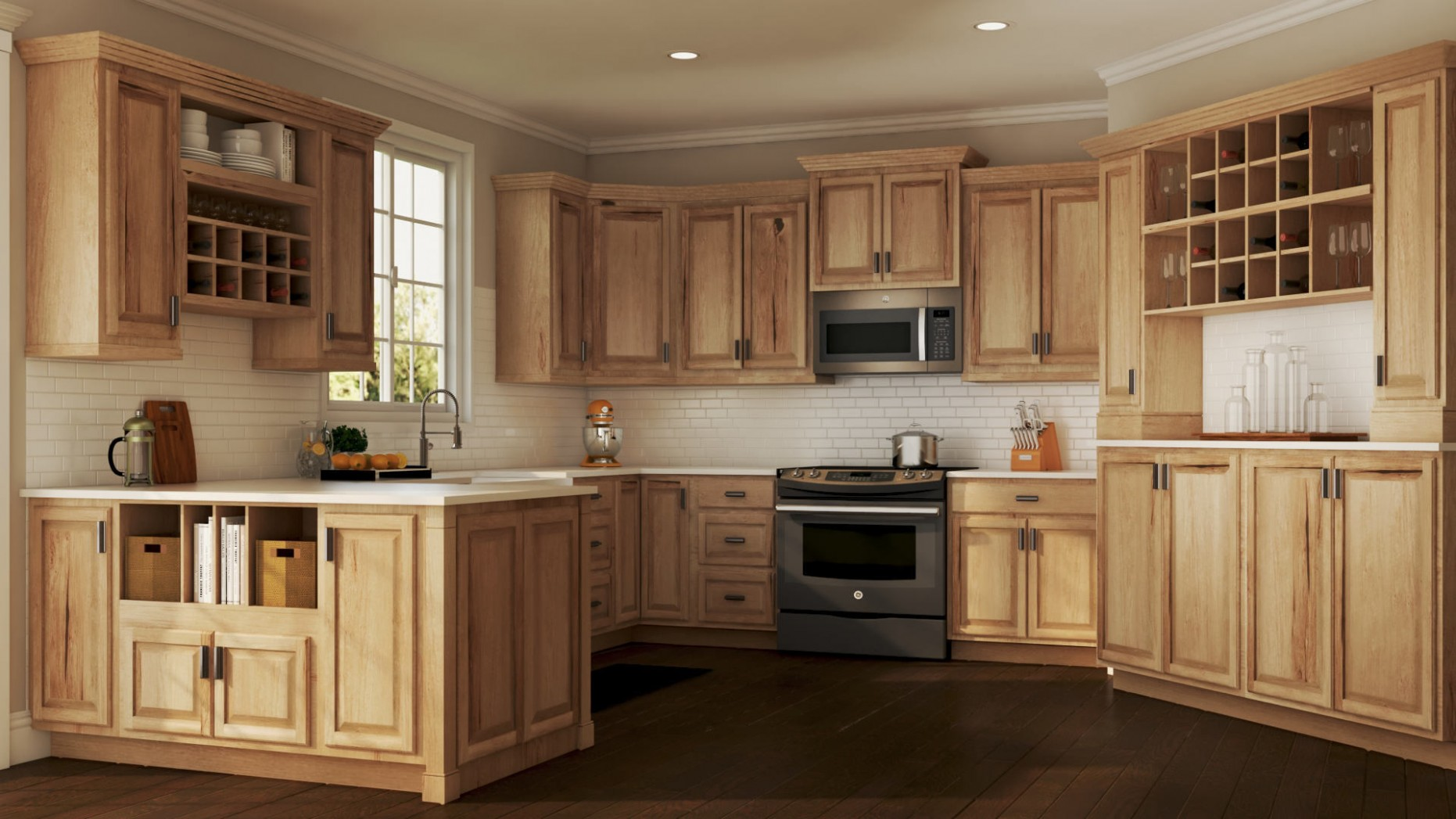 Hampton Wall Kitchen Cabinets in Natural Hickory – Kitchen – The  - Natural Hickory Kitchen Cabinets