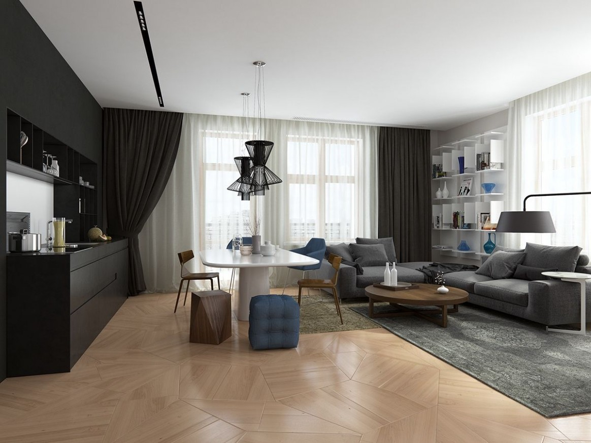 Handsome Small Apartments With Open Concept Layouts  Small  - Apartment Design Concept