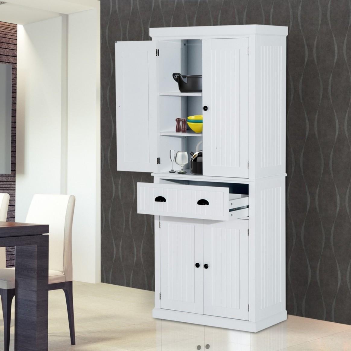 Homcom 11-Door Kitchen Storage Cabinet - White - Four Door Kitchen Cabinet