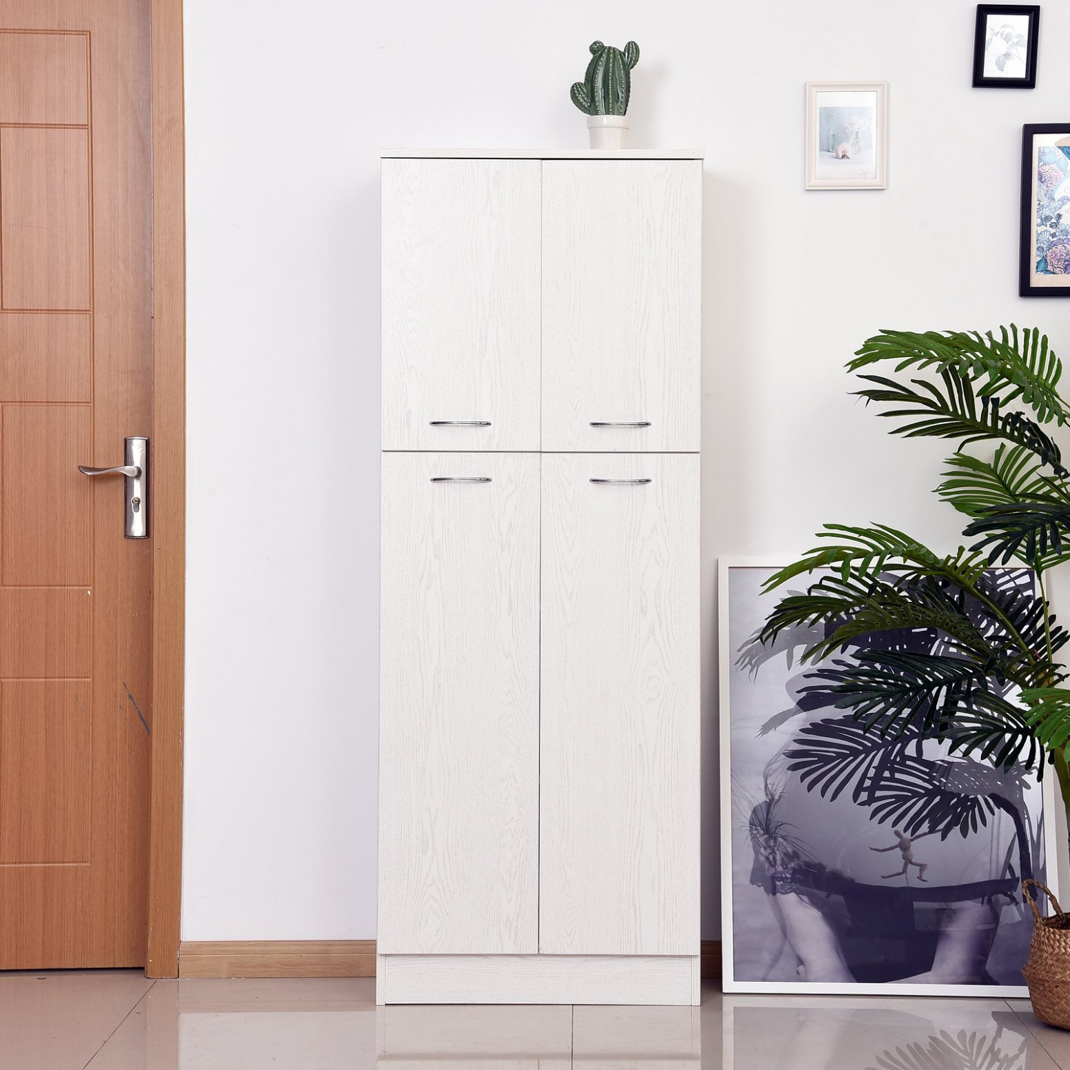 HOMCOM 11 Inch Tall 11-Door Kitchen Pantry Cupboard Storage Cabinet with  Adjustable Shelves Home Furniture, White - Four Door Kitchen Cabinet