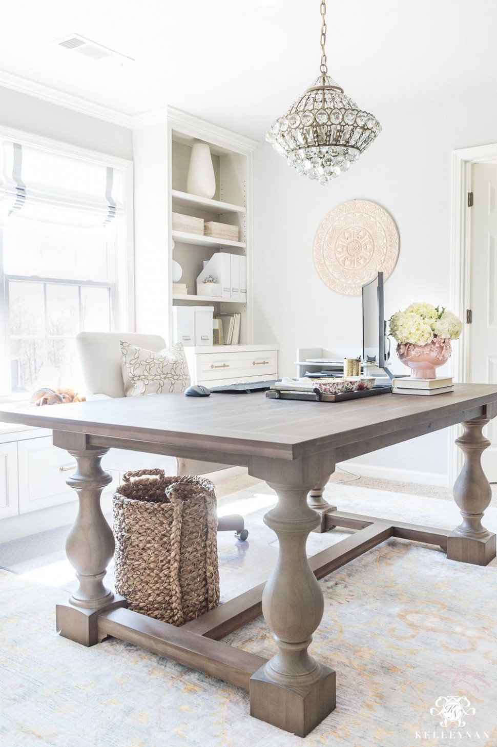 Home Office with Large Table Desk Ideas  Home office decor, Home  - Home Office Table Ideas