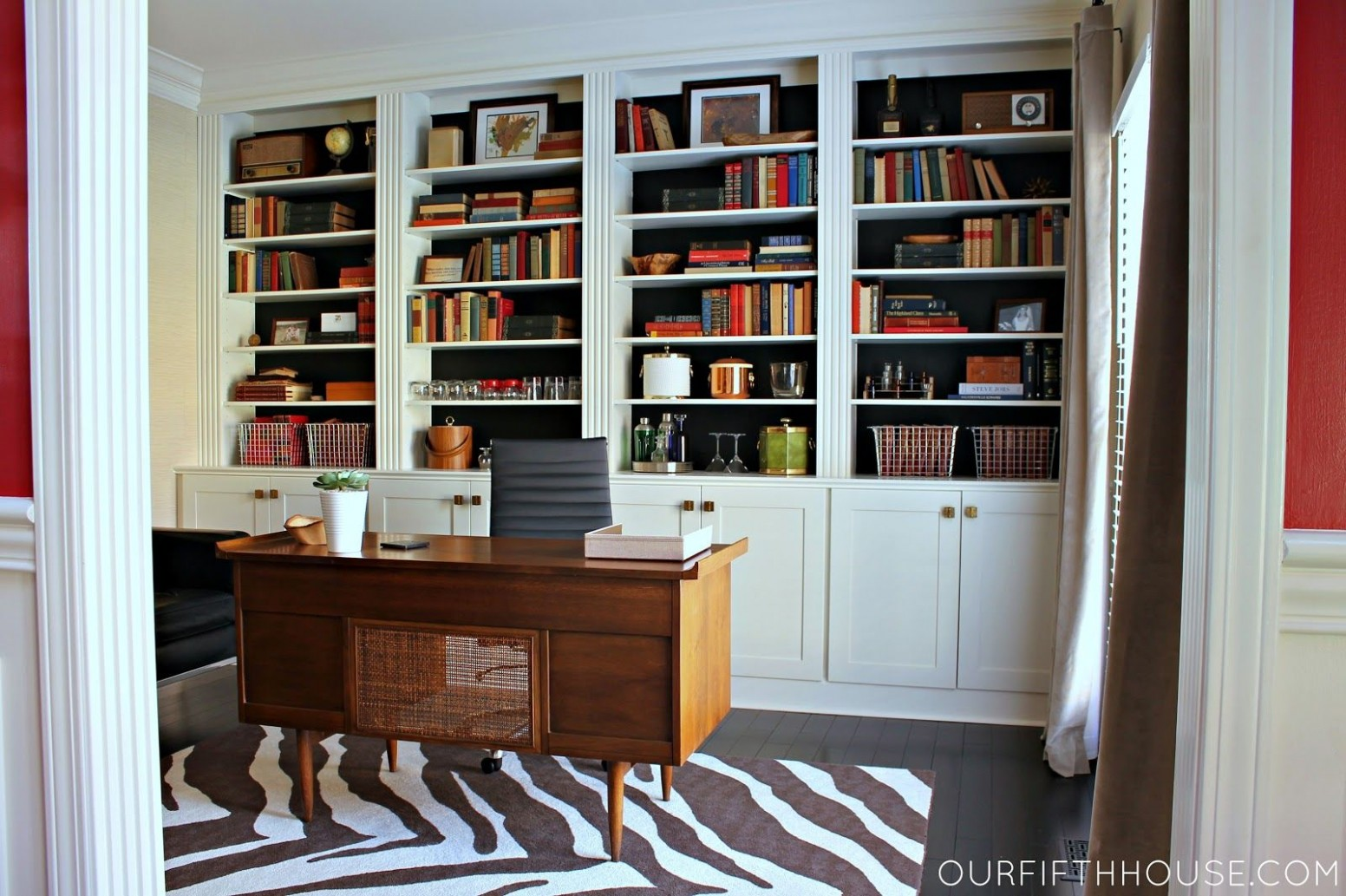 Home Office with New Built-In Bookcases  Home office design  - Home Office Bookshelf Ideas