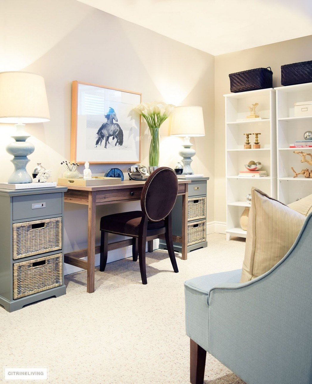 HOW I CREATED A PRETTY OFFICE SPACE IN OUR BASEMENT  Pretty  - Home Office Ideas Basement