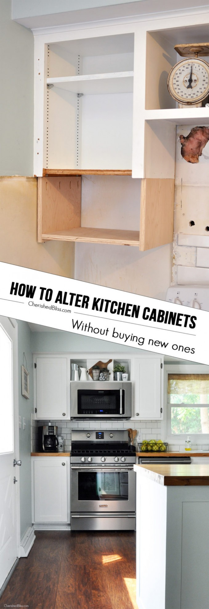 How to Alter Kitchen Cabinets - Cherished Bliss - Shorter Kitchen Base Cabinets