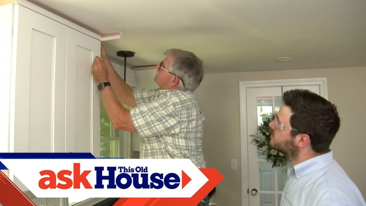 How to Hang Crown Molding on Kitchen Cabinets  Ask This Old House - How To Attach Crown Moulding To Kitchen Cabinets