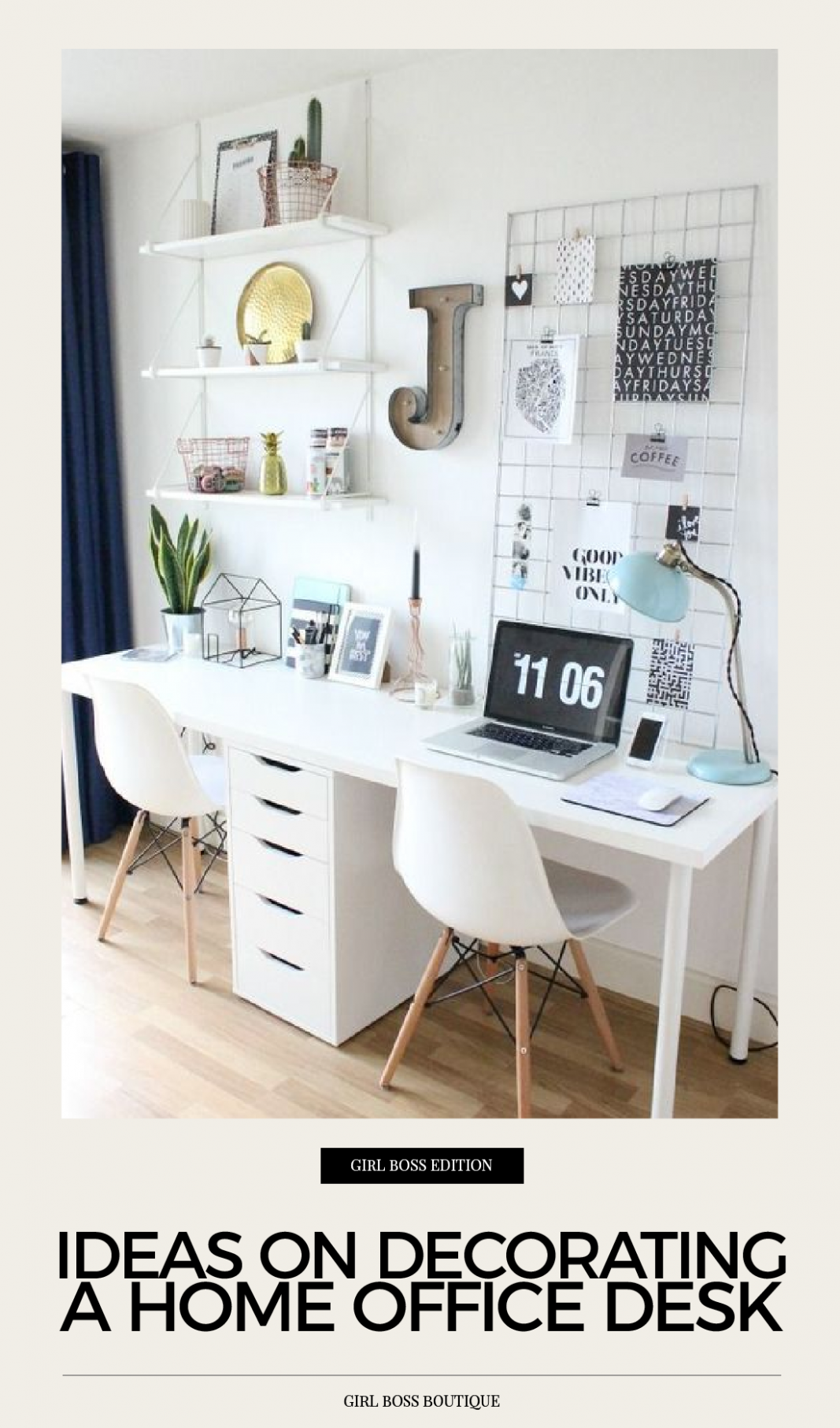 IDEAS ON DECORATING A HOME OFFICE DESK  by Girl Boss Boutique  - Home Office Table Ideas