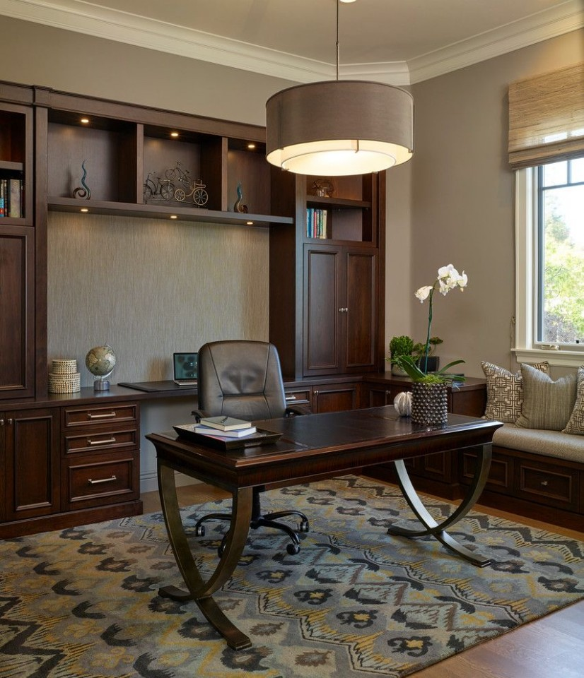 In home gym ideas home office traditional with window bench office  - Home Office Molding Ideas