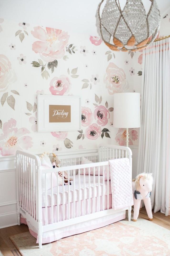 In the Nursery with Monika Hibbs - Project Nursery  Baby girl  - Baby Room Wallpaper