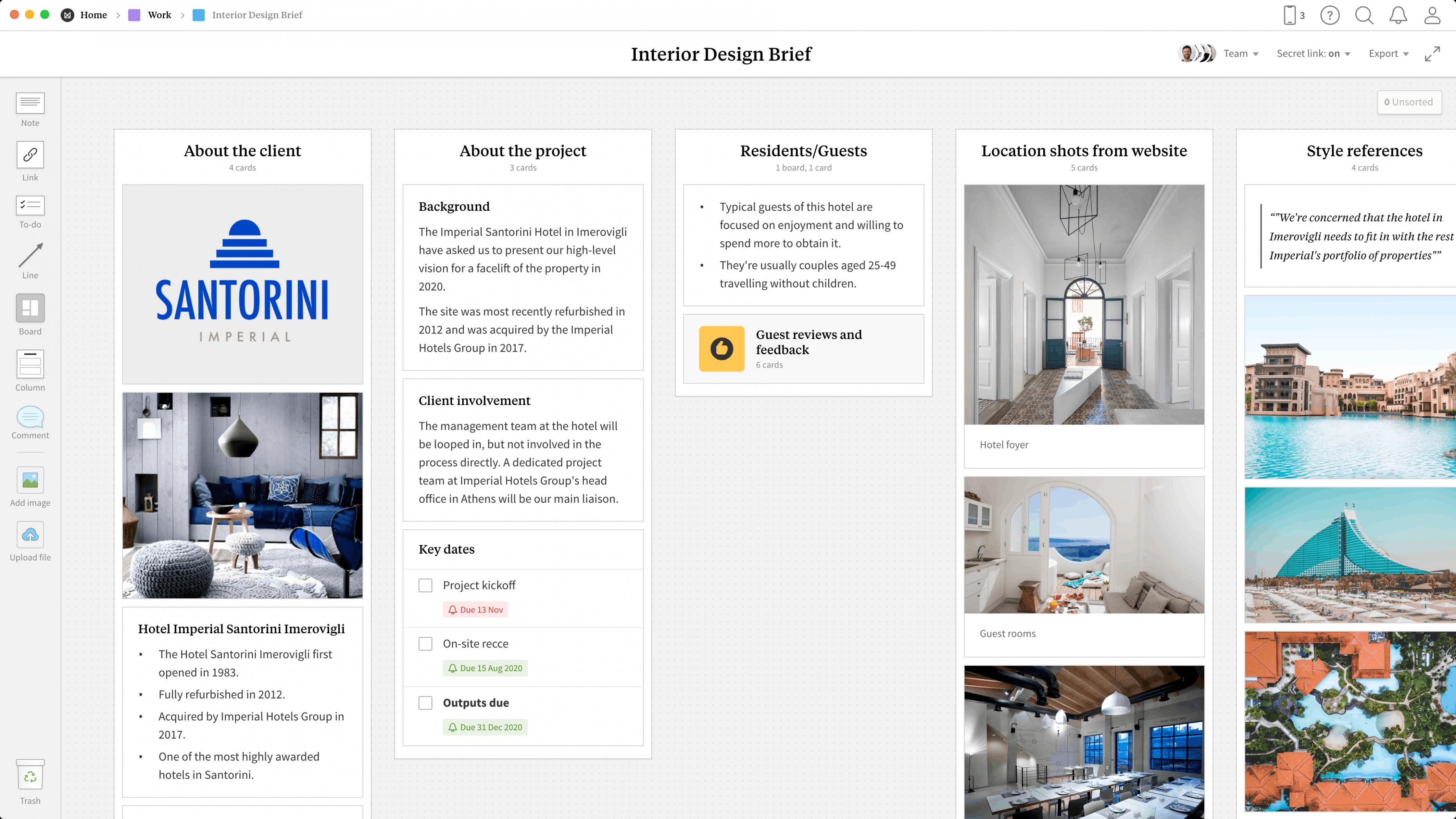 Interior Design Brief Template & Example Project - Milanote - Apartment Design Brief