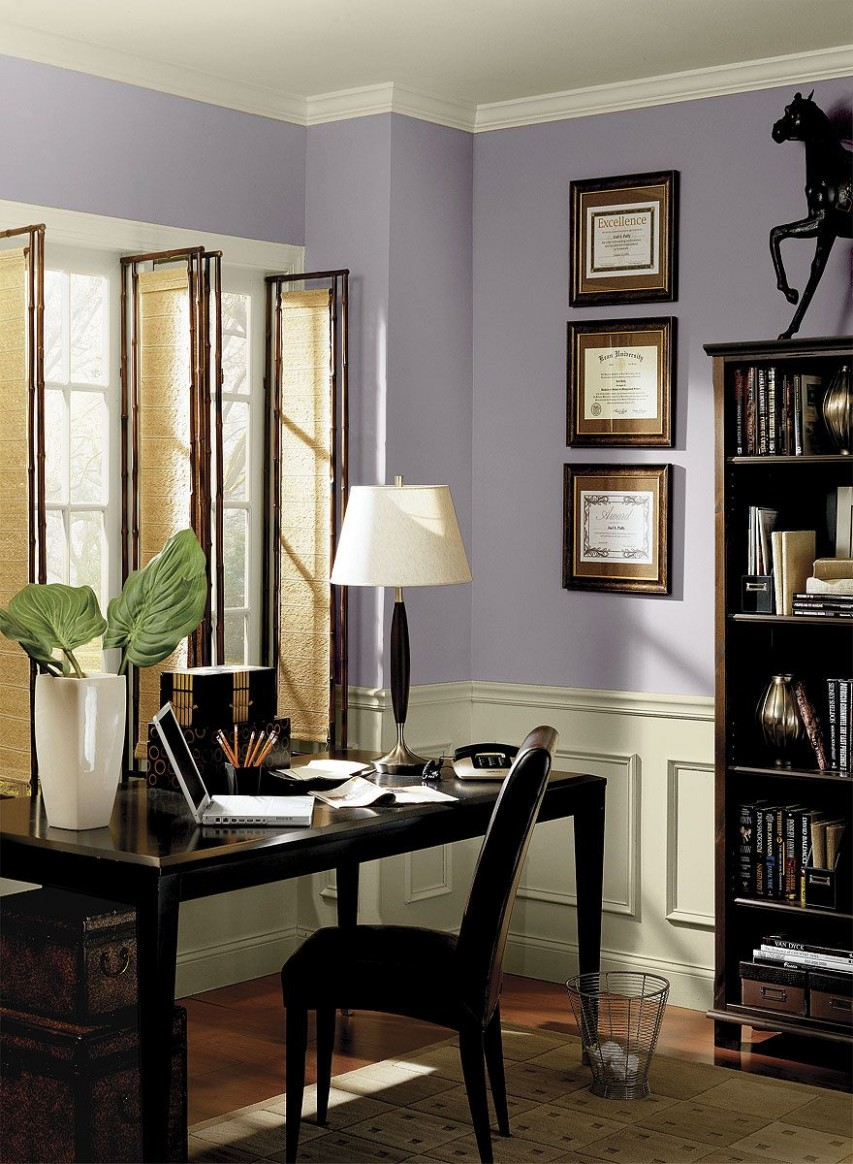 Interior Paint Ideas and Inspiration  Benjamin Moore  Purple  - Home Office Molding Ideas