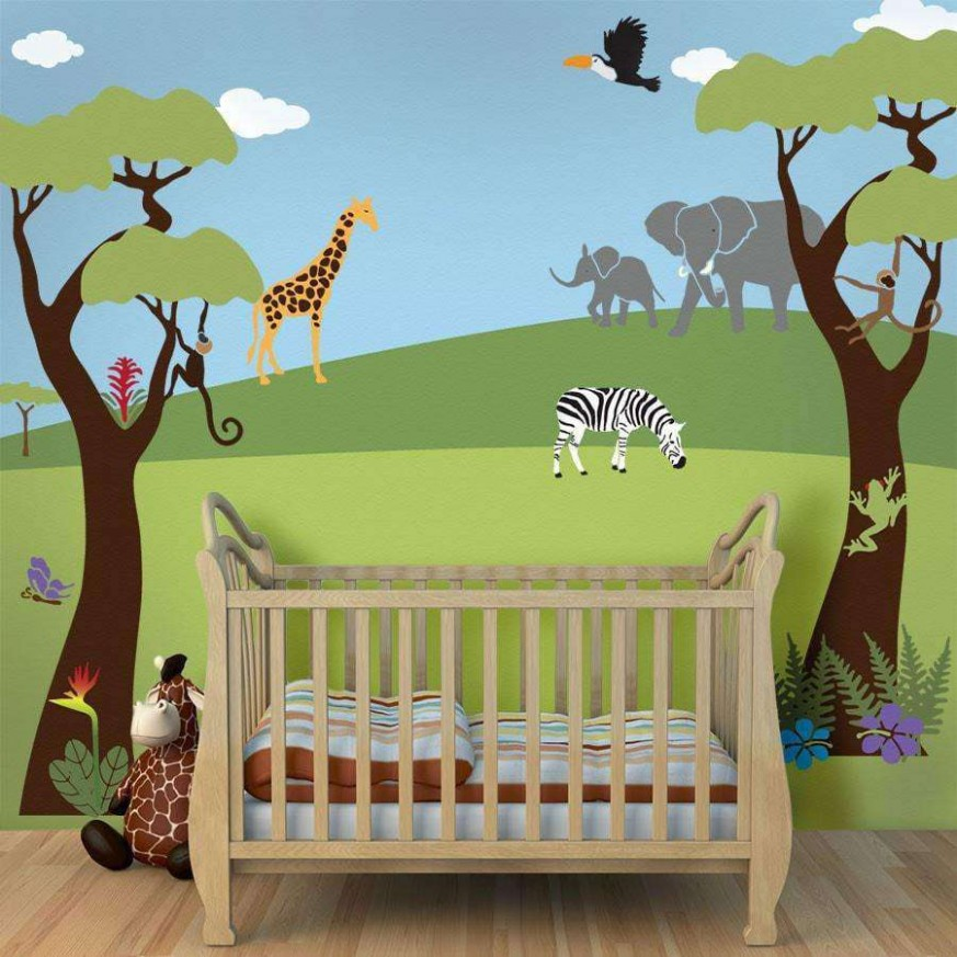 Jungle Safari Theme Stencil Kit for Painting a Wall Mural - Baby Room Stencils